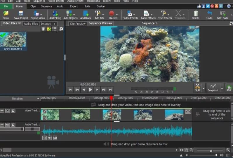 Interfaz de VideoPad