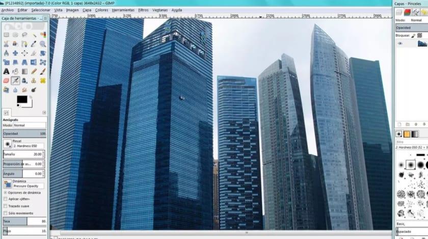 Interfaz de GIMP