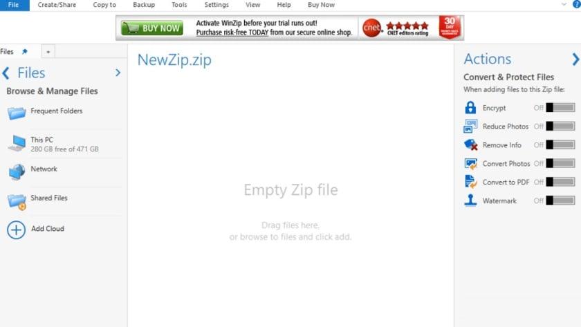 Interfaz de WinZIP