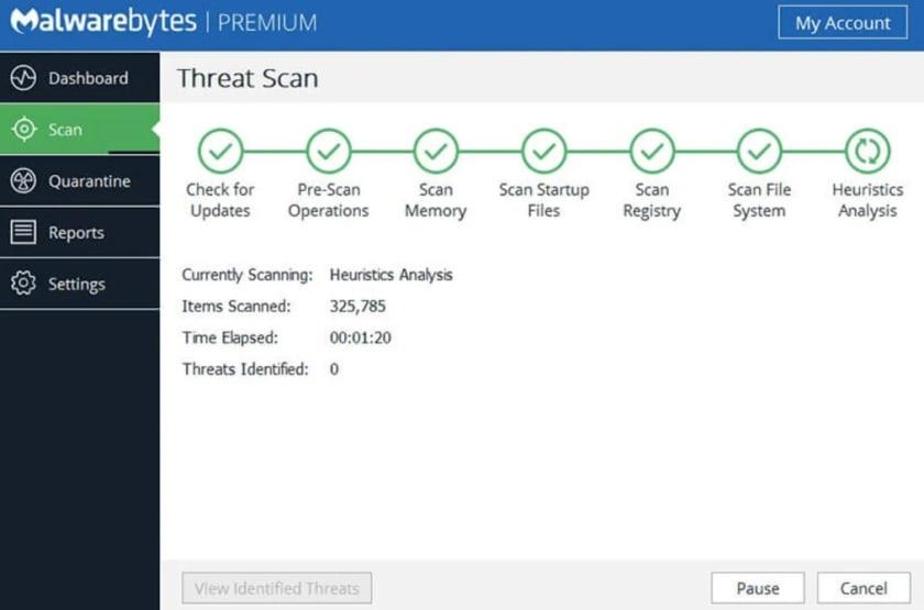 Interfaz de Malwarebytes