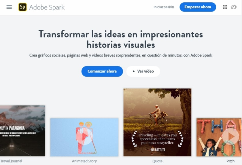 Interfaz de Adobe Spark
