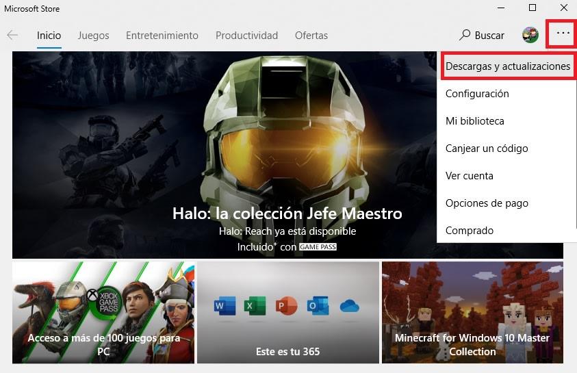 Descargar y actualizaciones de Microsoft Store