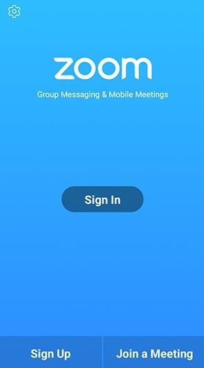 Interfaz de la aplicación Zoom