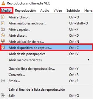 Abrir el dispositivo de captura de VLC