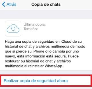 Crear copia de seguridad de WhatsApp en iPhone