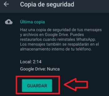 Crear una copia de seguridad de WhatsApp