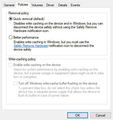 ~Quick removal or Better performance USB device policy for Windows