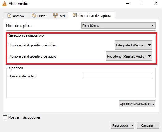 Cómo grabar desde la webcam con VLC