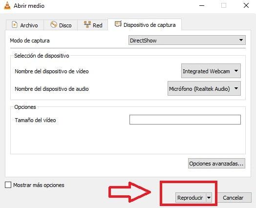 Grabar desde tu webcam con VLC