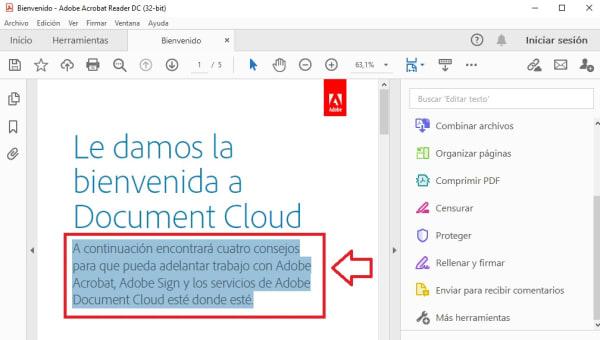 Subrayar con Adobe Reader