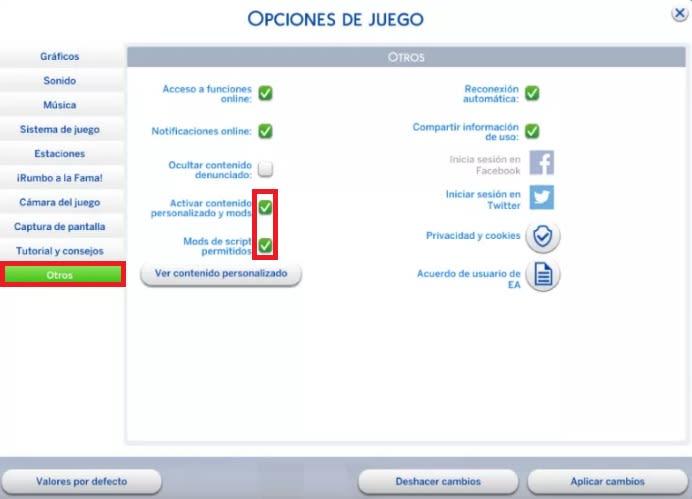 Opciones para activar mods en Los Sims 4