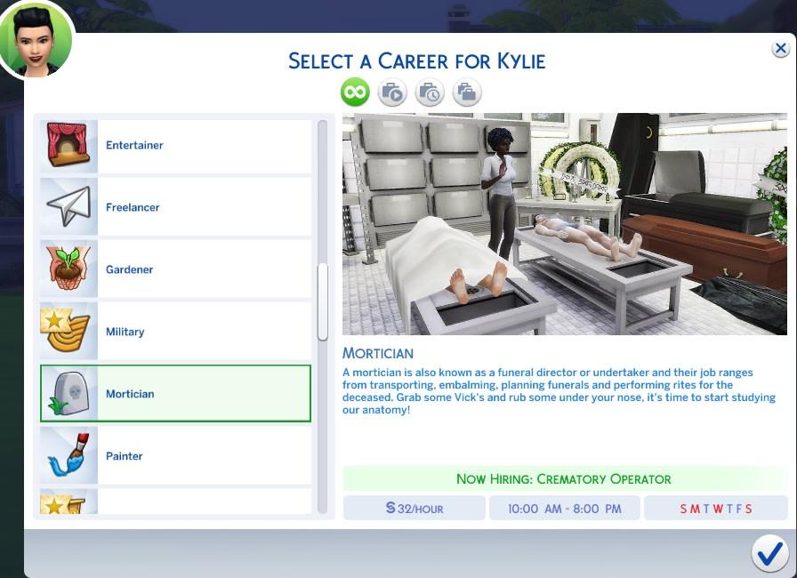 Mod para ser empleado de servicios funerarios para Los Sims 4