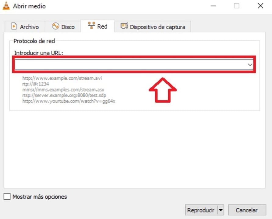Introducir URL de streaming en VLC