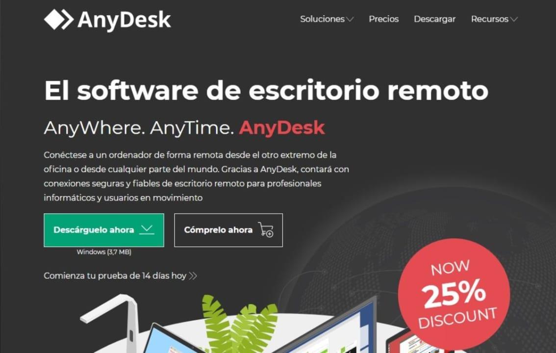 Página oficial de AnyDesk