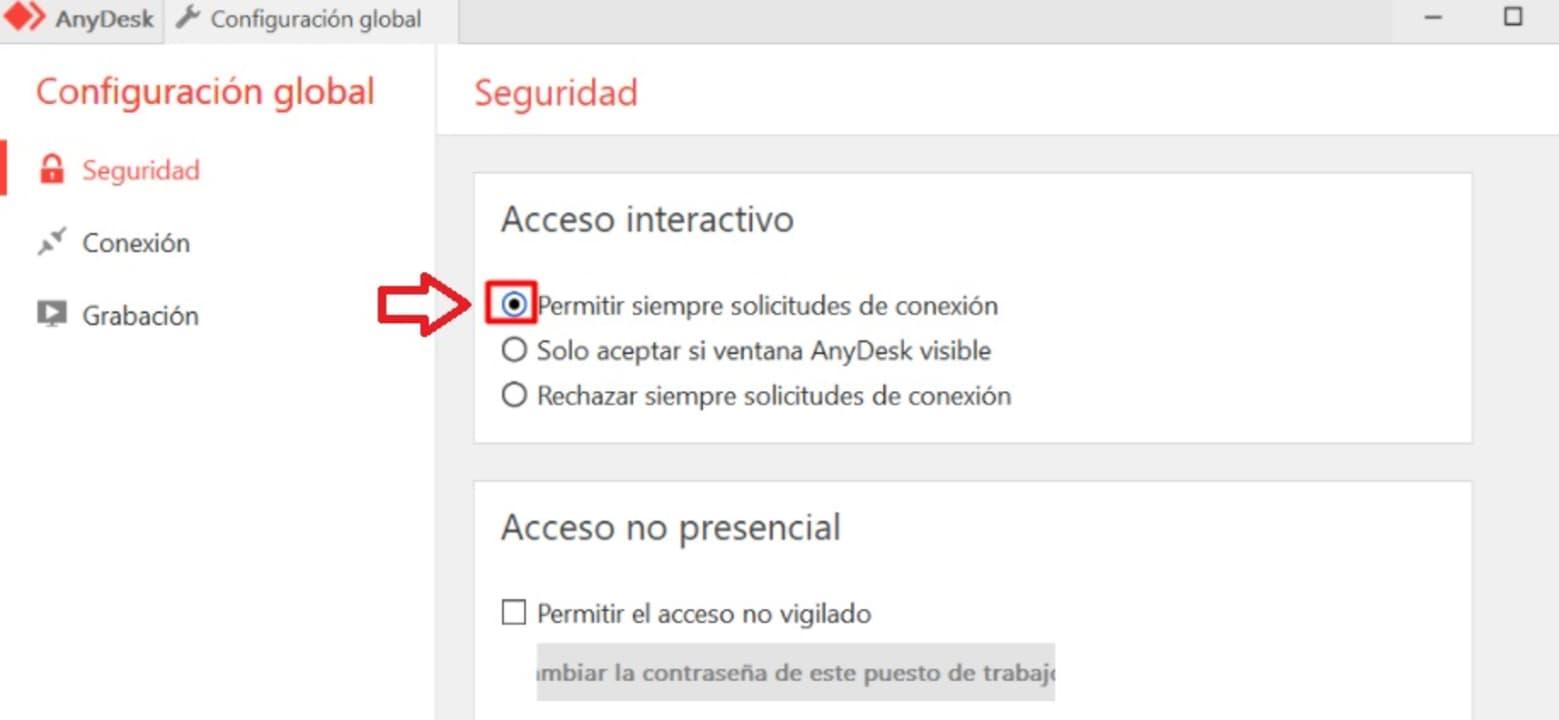 Acceso interactivo a AnyDesk