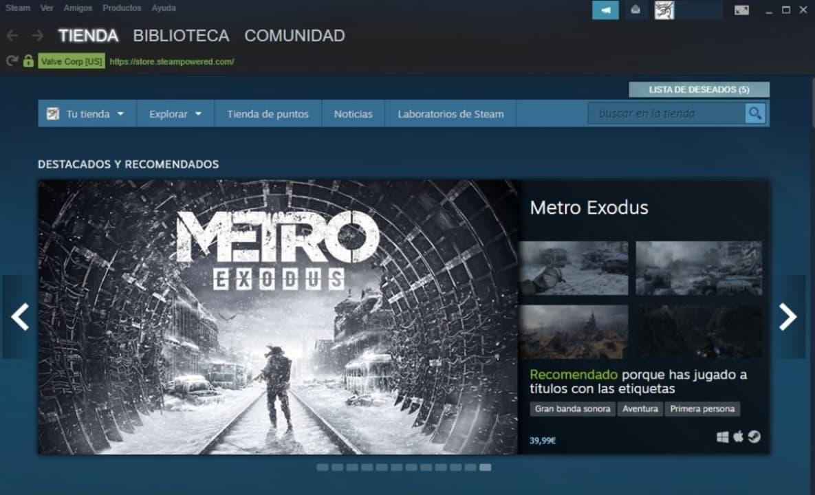 Página principal del cliente de Steam