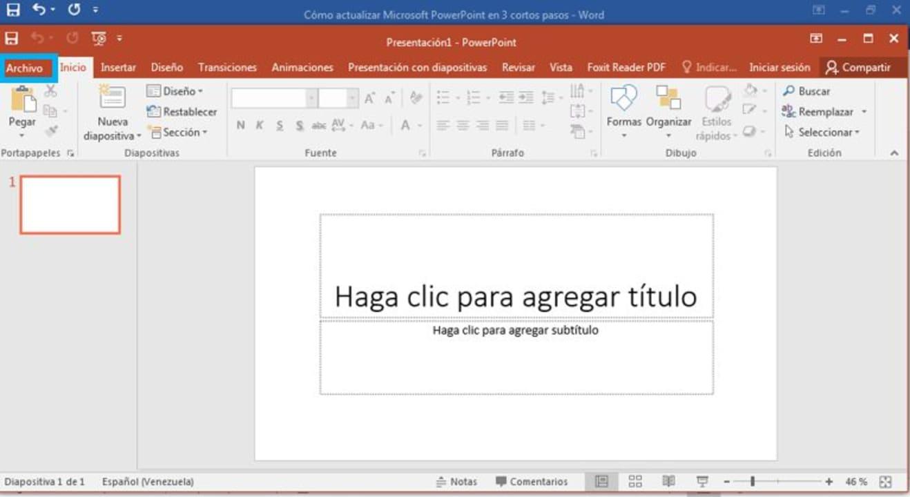 Cómo actualizar Microsoft PowerPoint