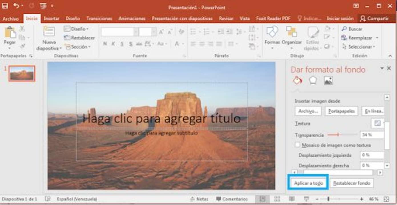 Cómo poner imagen de fondo en Microsoft PowerPoint