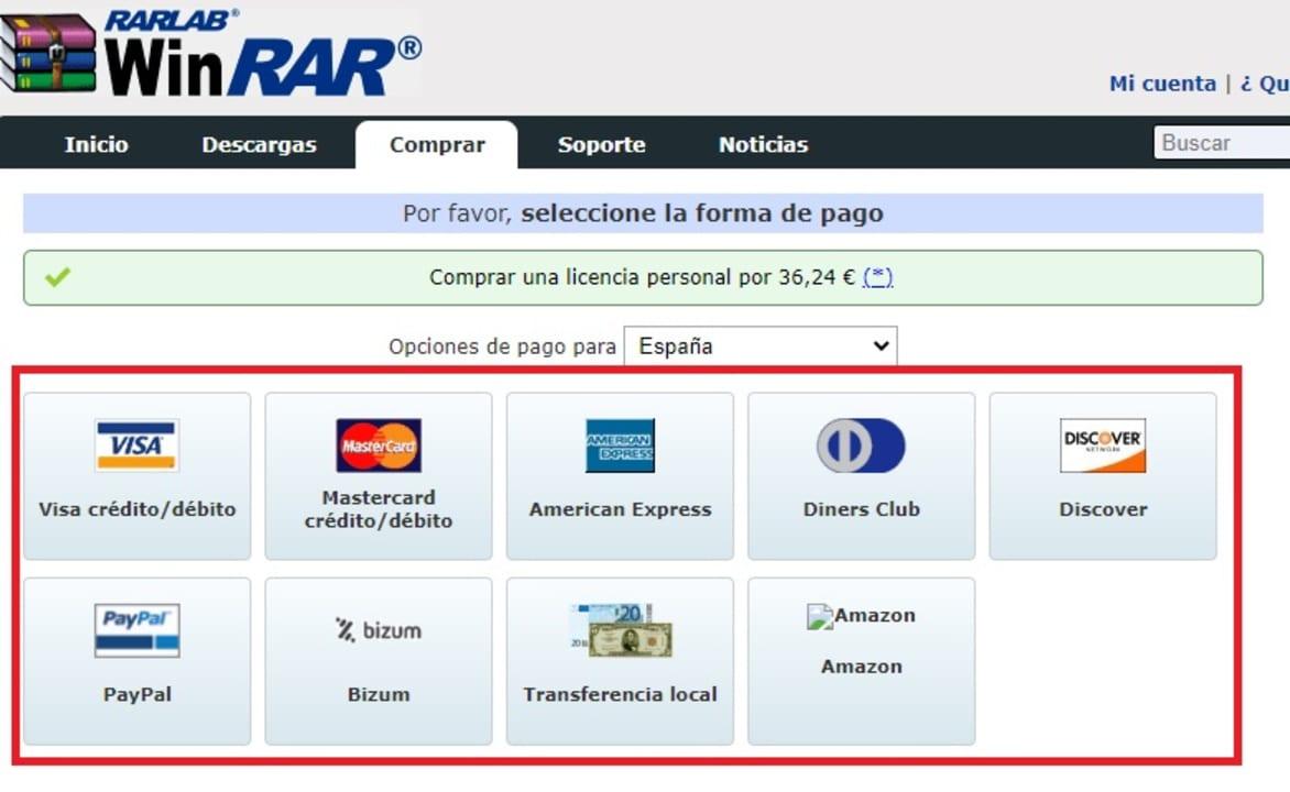 Métodos de pago de  WinRAR