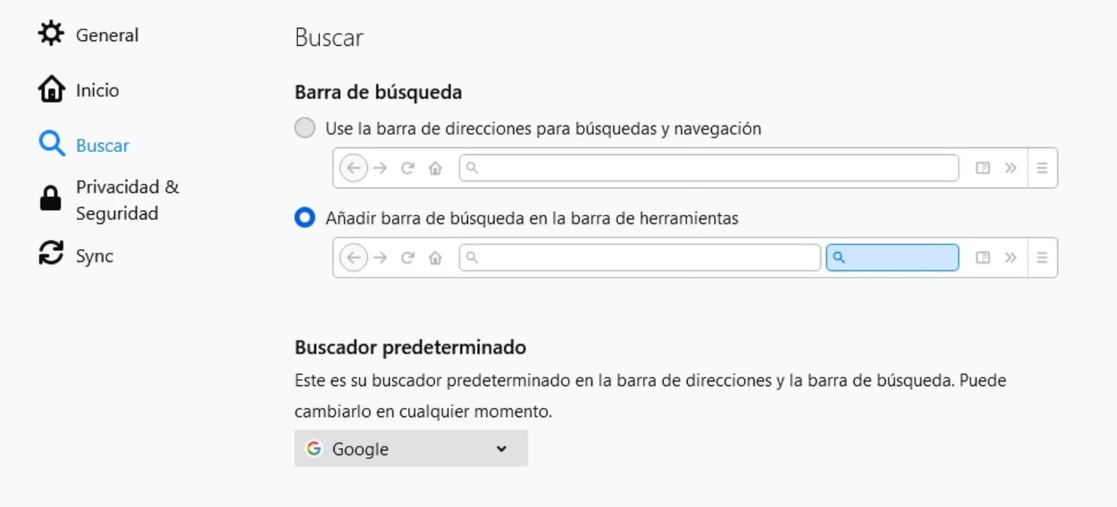 Menú de búsqueda en Firefox