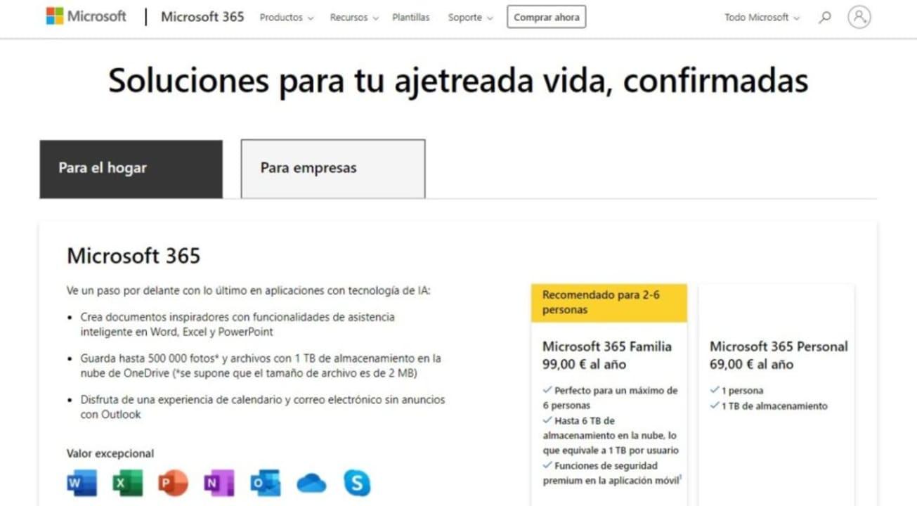 Página de compra de Microsoft 365