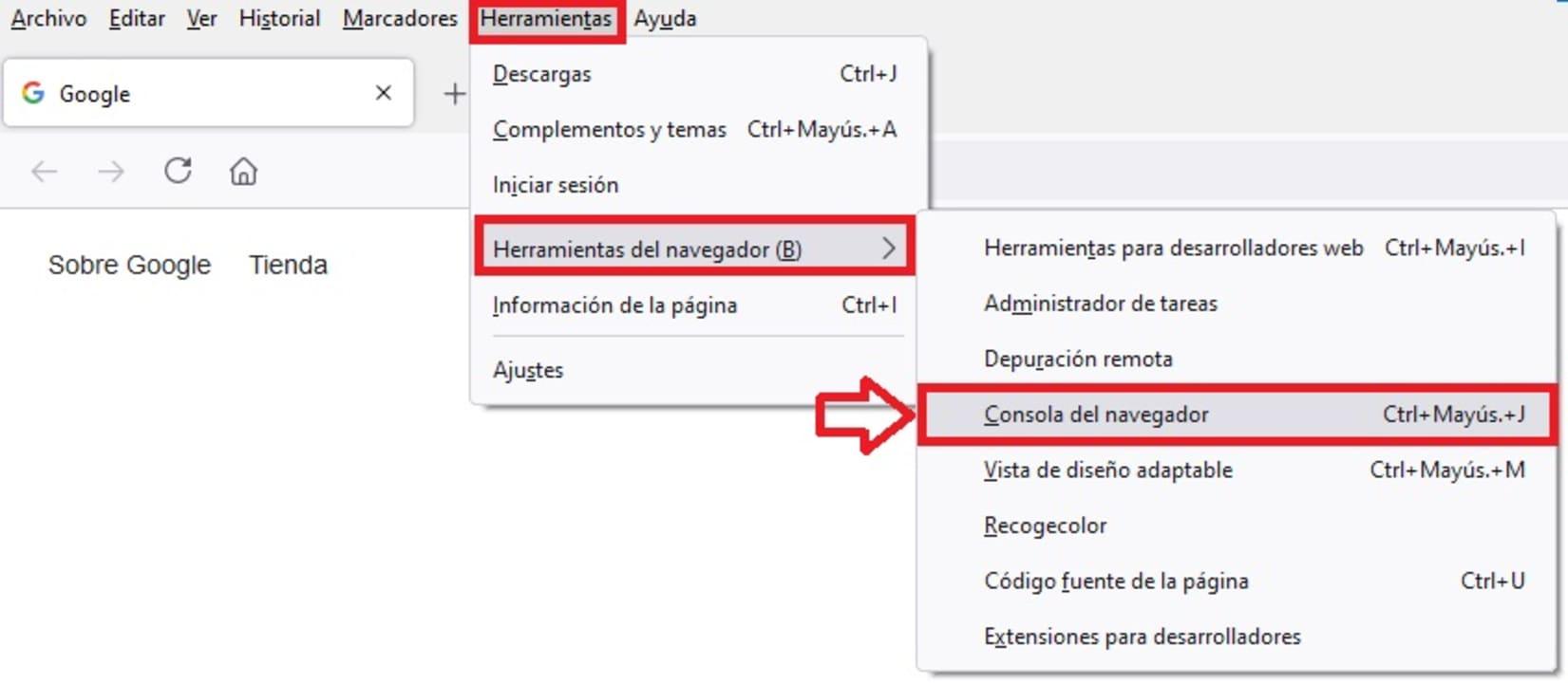 Consola de navegador de Firefox