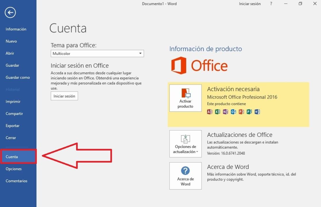 Cuenta de Office