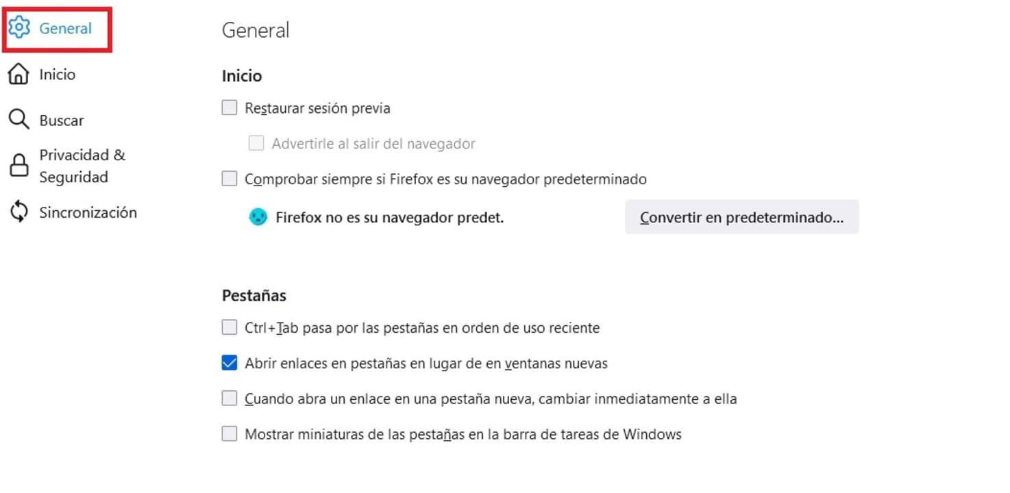 Opciones generales de Firefox