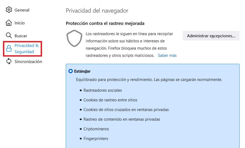 Opciones de privacidad de Firefox