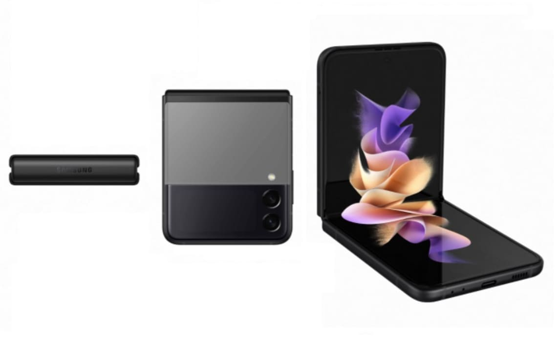 Samsung Galaxy Z Flip3 5G abierto, cerrado y su lateral.