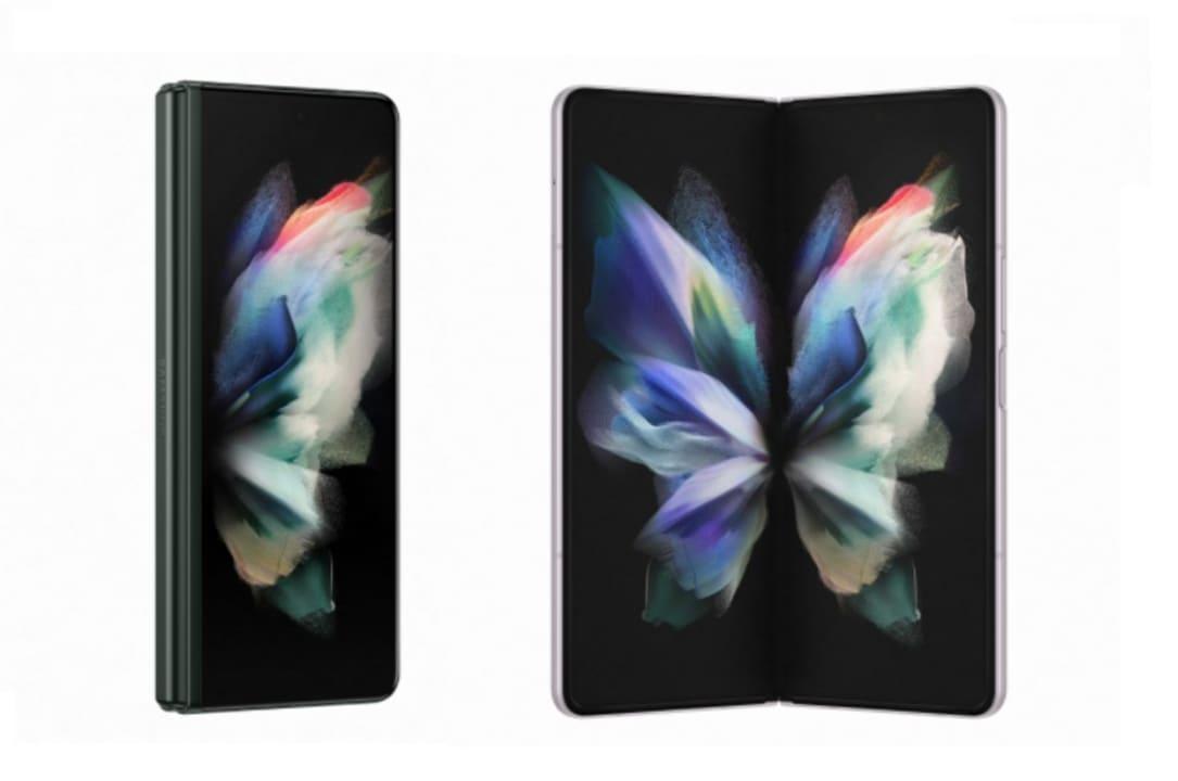 Samsung Galaxy Z Fold3 5G con la pantalla cerrada y abierta.