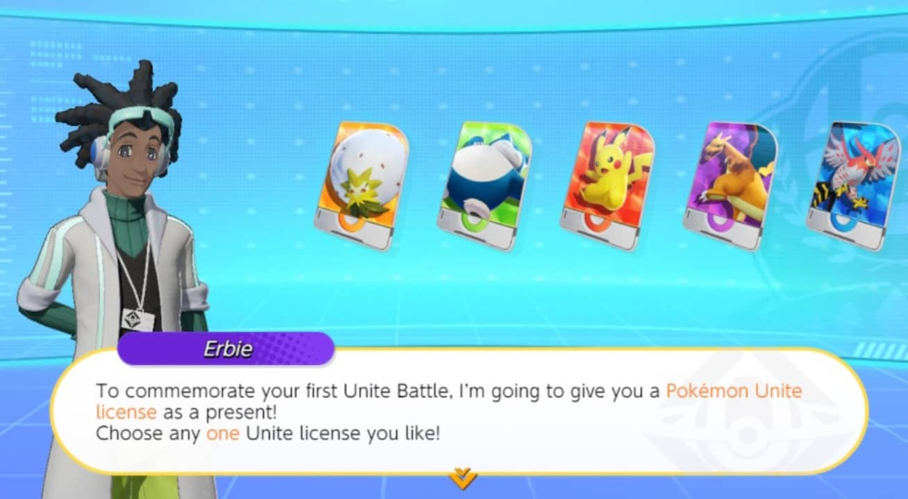 Pantalla de elección de Pokémon iniciales en Pokémon Unite.