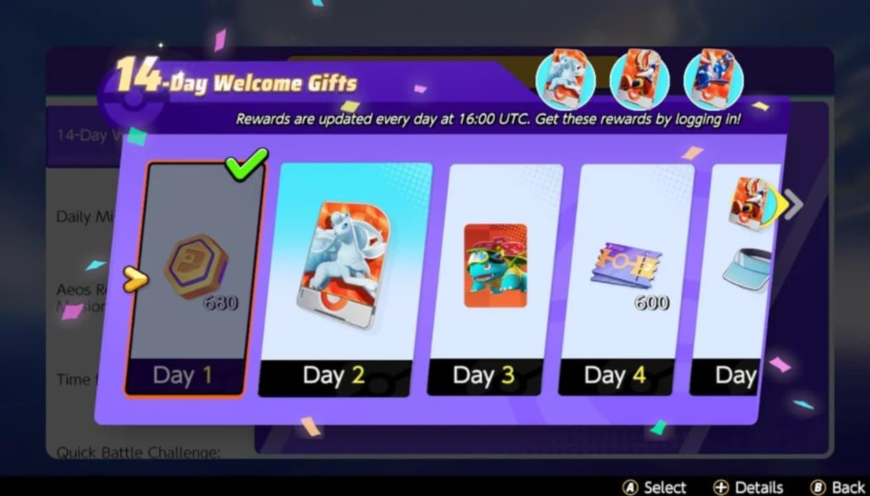 Recompensas del pack de bienvenida de Pokémon Unite
